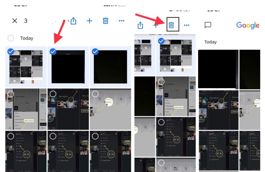 delete photos from google photos on iPhone and iPad