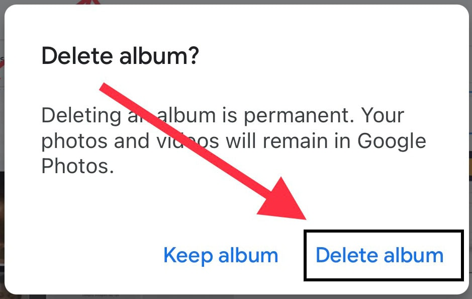 delete album from google photos