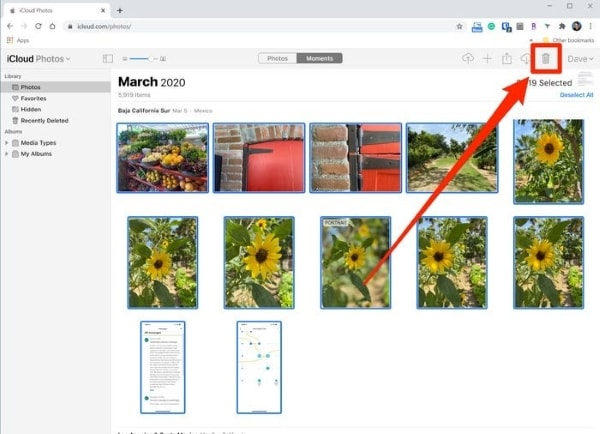 delete photos from icloud website
