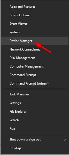 tap on device manager option
