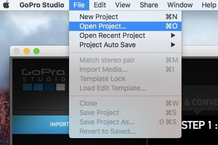 create a new project in gopro sutdio