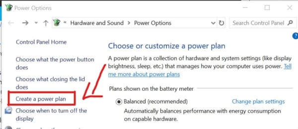 create a new power plan for your laptop