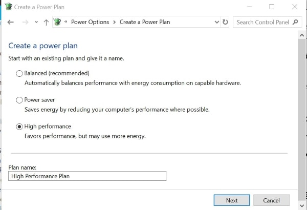 select the high performance option