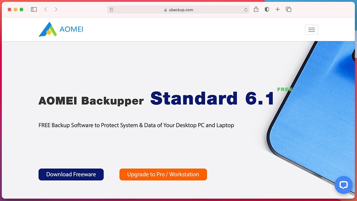 aomei backupper homepage