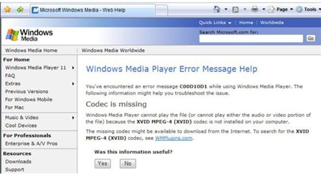 Windows procura por um codec ausente