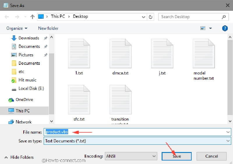 save file name as vbs