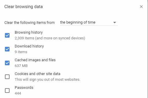 settings for deleting temporary files in chrome
