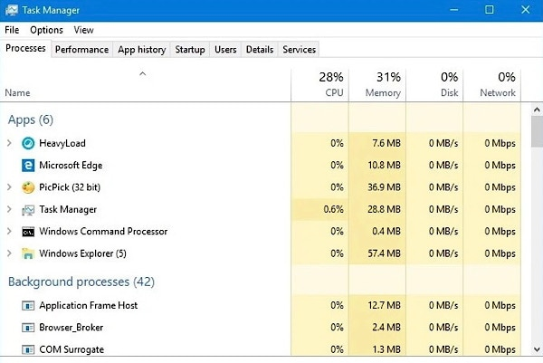 cpu-consuming applications in windows task manager