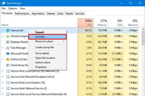 closing applications from the windows task manager