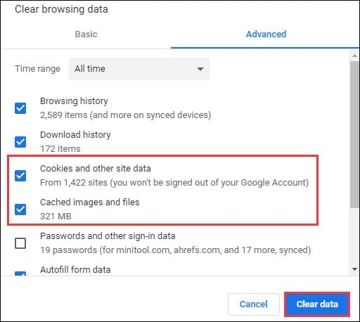 clear your browsing data