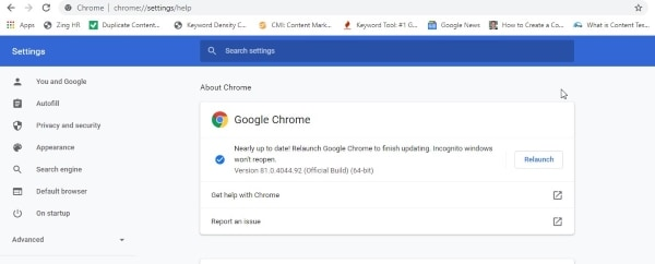 update your google chrome