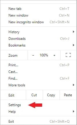 access your browser settings