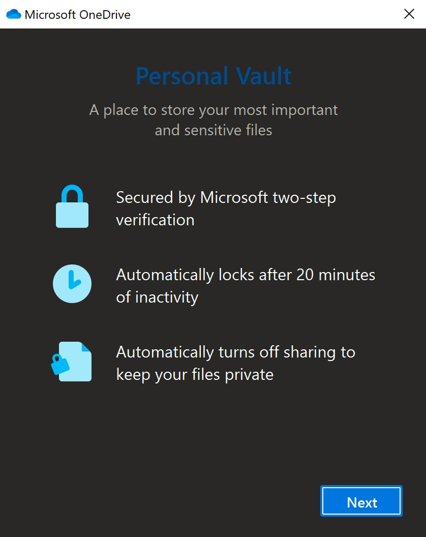 One Drive Personal Vault