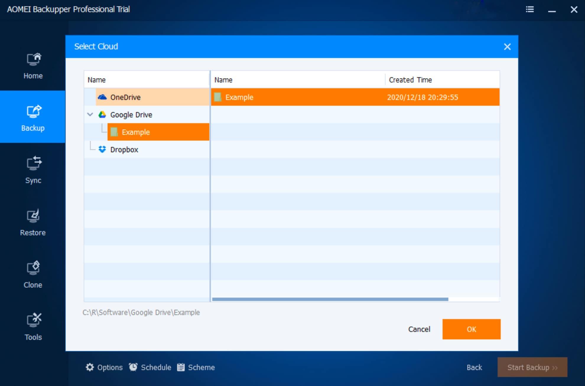 Select a Cloud Drive Type