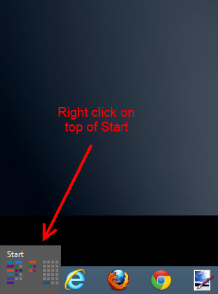 click on the start button at the bottom left of the screen