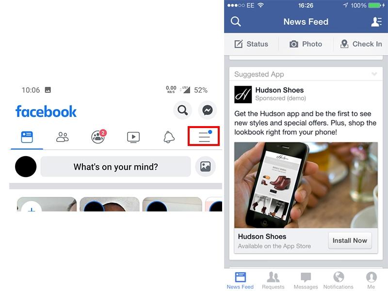 facebook menu bar three lines