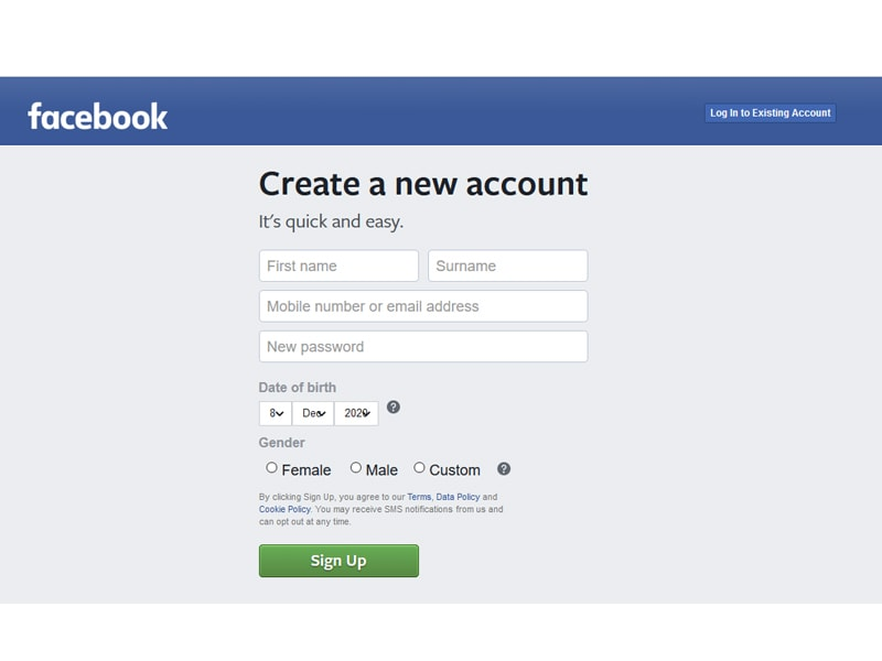 facebook log in