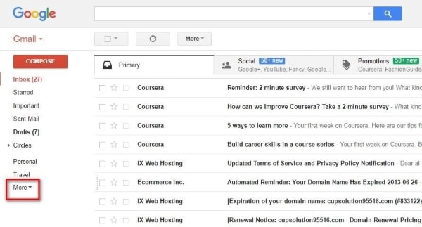 select more option to expand gmail features