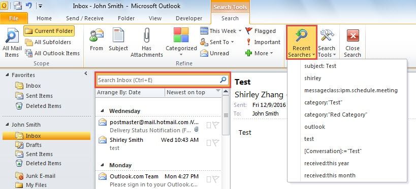 Search email in Outlook