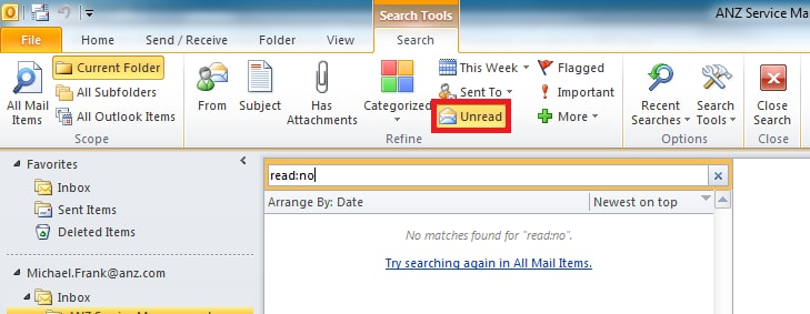 Locate unread under search in OUtlook