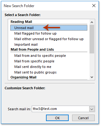 Unread emails in Search folder
