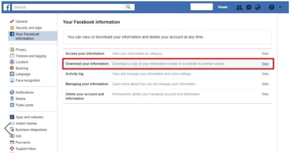 select download your information option