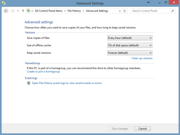 find different settings in advanced settings