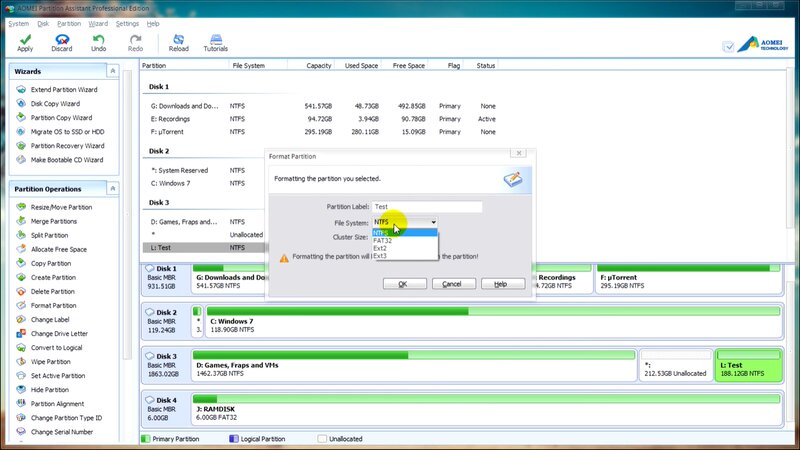 Select the exFAT file system