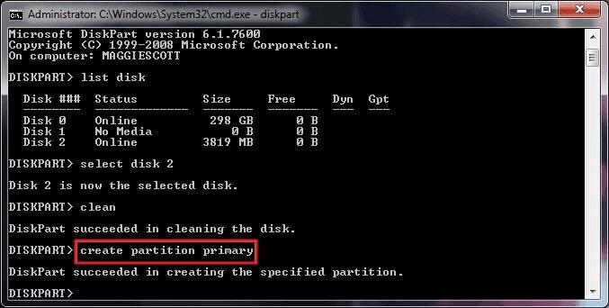 Diskpart Command Create Parition