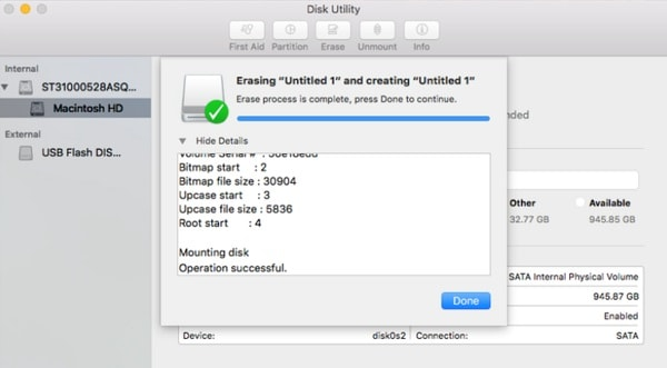 Mac Disk Utility Formatting Done