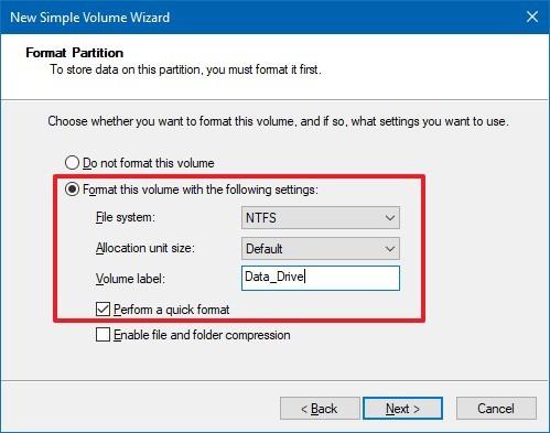 Disk Management Formatting