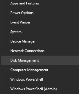 click windows + X and select Disk Management