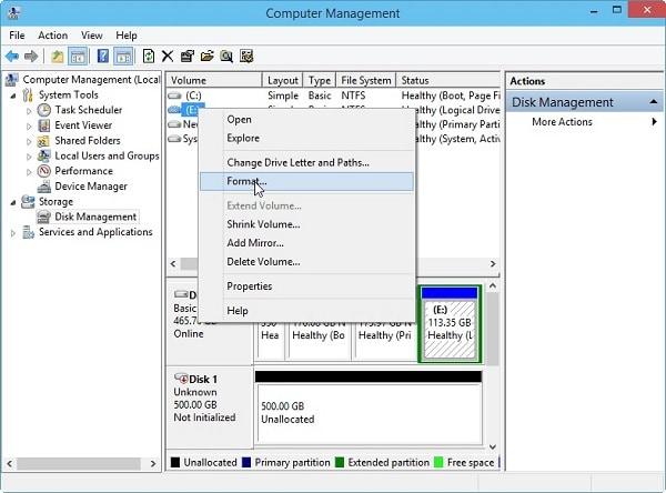 Disk Management Format Option