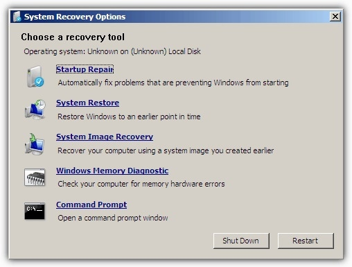 Windows XP System Recovery Options