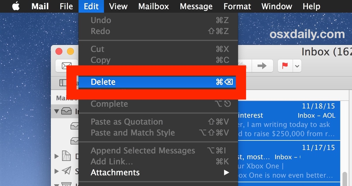 delete all the emails on mac