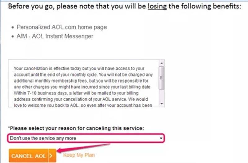Confirm AOL Cancellation