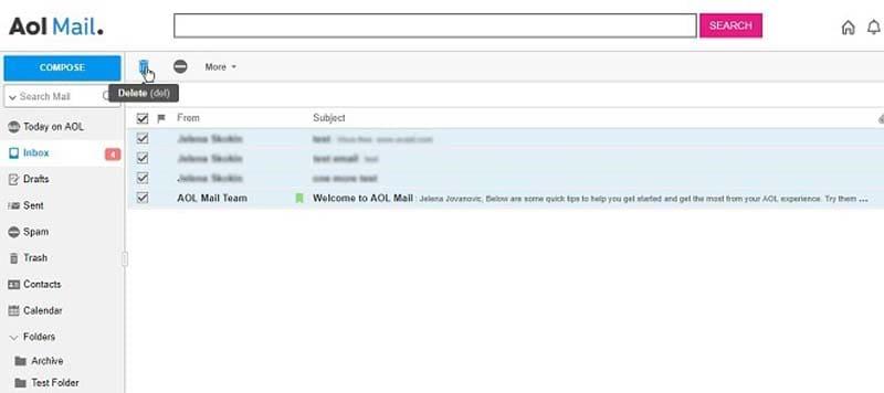 Delete Multiple AOL Emails