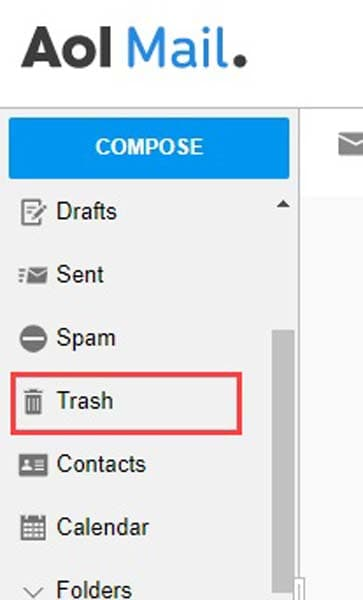 AOL Mail Trash