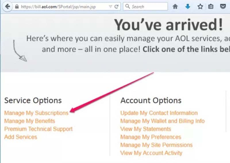 AOL Manage Subscriptions
