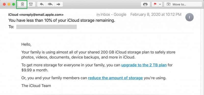 Delete iCloud Email