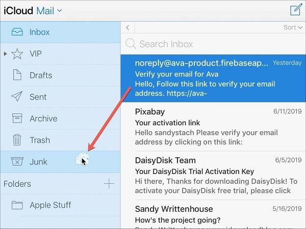 Drag and Drop iCloud Mails