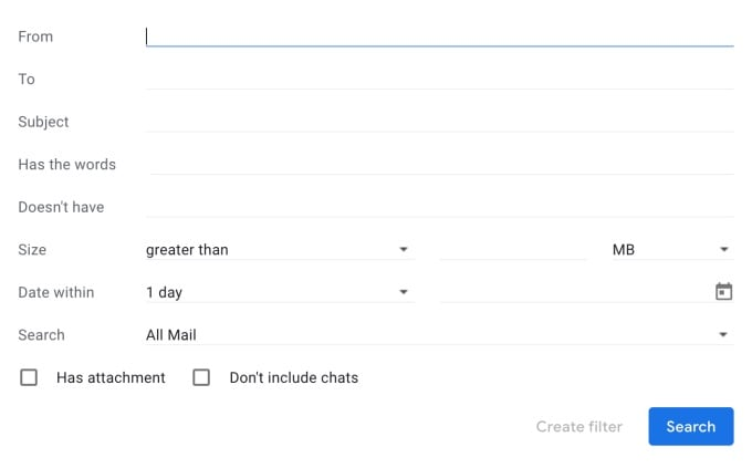 Advanced Search Options in Gmail