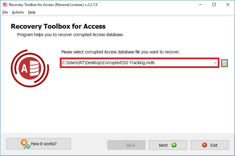 recovering microsoft access database