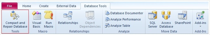 choosing compact and repair database tools option