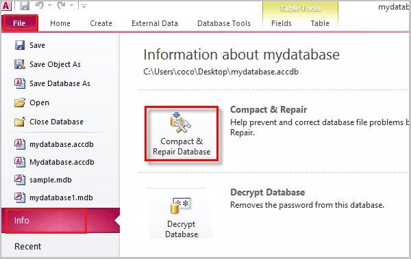 choosing compact and repair database tools option from file menu
