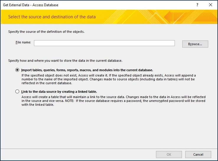 choosing the access database file to import