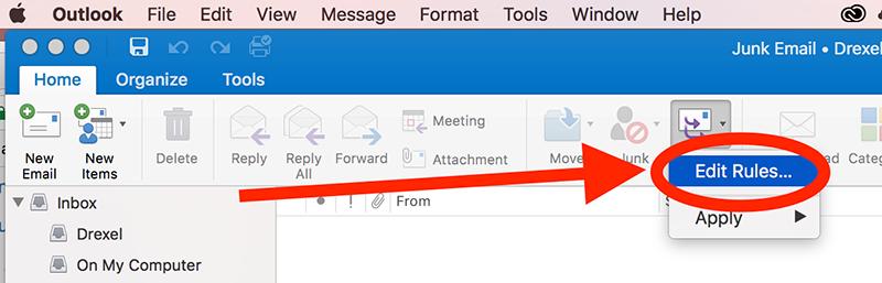 Create or edit a rule in Outlook