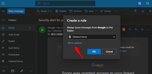 Create auto delete rule in Outlook