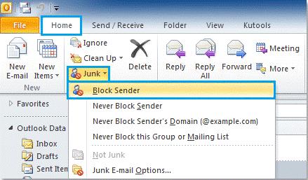 Block sender in Outlook