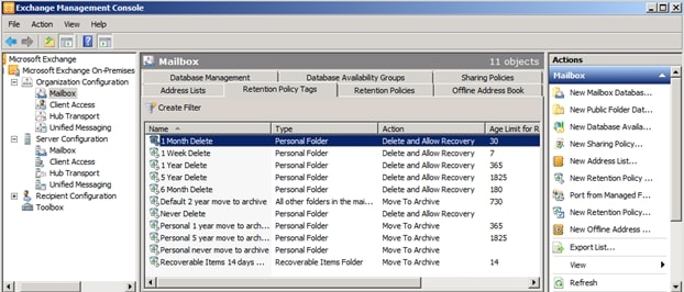 Select the files in the policy retention tag